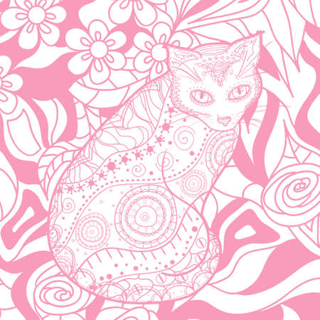 Square pattern with ornate cat. Hand drawn animal with abstract patterns. Print for polygraphy, t-shirts and textiles