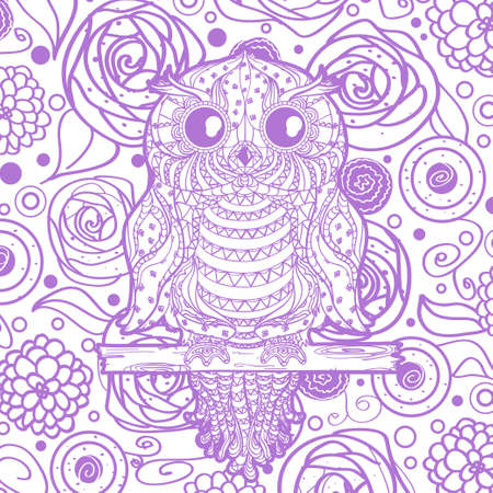 Square pattern with owl on white.  Hand drawn mandala with abstract patterns on isolation background. Colorful art