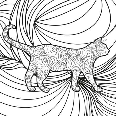 Monochrome cat on abstract square shape. Hand drawn abstract pattern. Black and white illustration for coloring Vettoriali