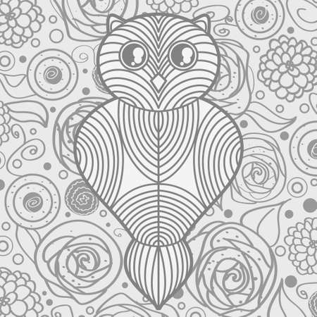 Square drawing with owl. Hand drawn bird on abstract floral background. Design for spiritual relaxation for adults Illusztráció