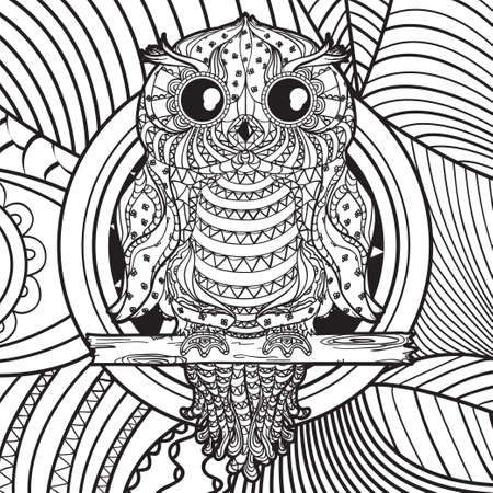 Owl. Hand drawn abstract pattern on isolated background. Design for spiritual relaxation for adults