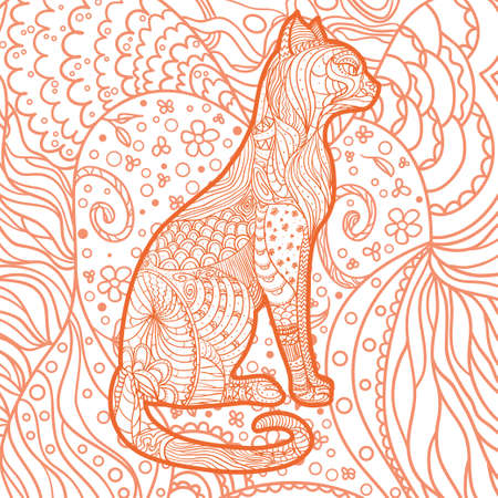 Square pattern on white. Ornate cat. Hand drawn animal with abstract patterns Illustration