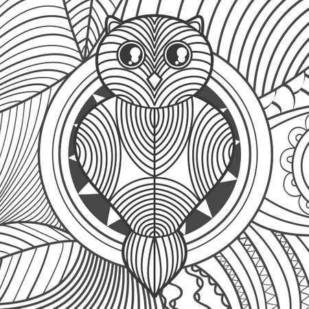 Square pattern on white. Hand drawn owl. Design for spiritual relaxation for adults. Black and white illustration