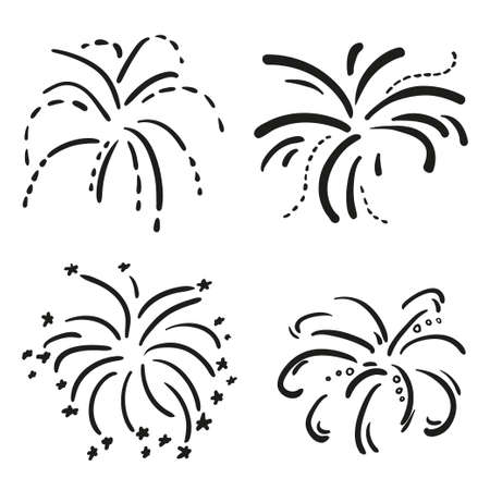 Explosion. Set of holiday fireworks on isolated white background. Black and white illustration