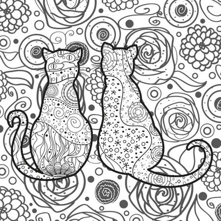 Cats on abstract square pattern. Hand drawn abstract cat. Black and white illustration for coloring 일러스트