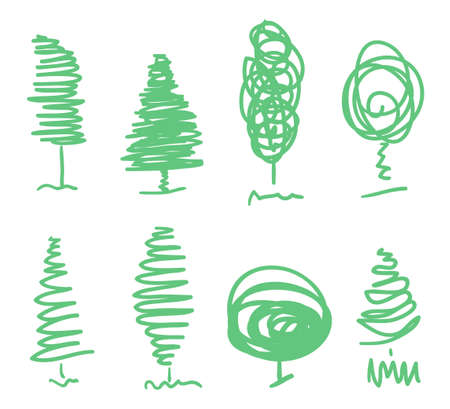 Abstract tree. Colorful christmas tree on white. Hand drawn line art Vector Illustration