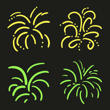 Set of neon holiday fireworks on isolated black background. Hand drawn explosion