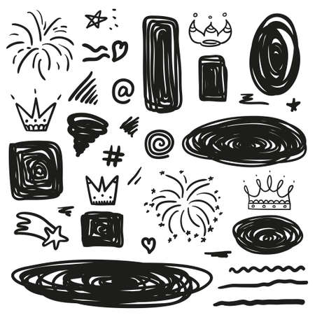 Abstract tangled shape. Random chaotic lines. Hand drawn objects. Black and white illustration