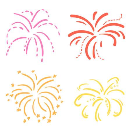 Explosion. Set of holiday fireworks on isolated white background. Colorful illustration