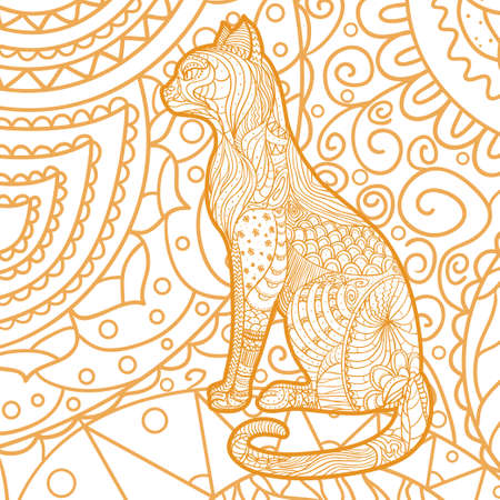 Square pattern. Ornate cat. Hand drawn animal with abstract patterns