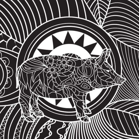 Square intricate background. Hand drawn pattern with pig. Design for spiritual relaxation for adults. Black and white illustration
