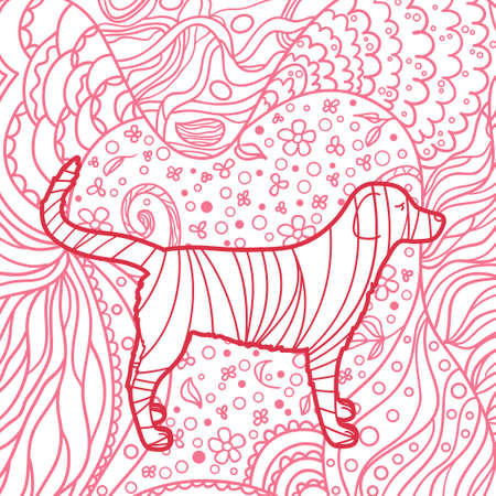 Square pattern. Hand drawn dog. Design for spiritual relaxation for adults. Print for design