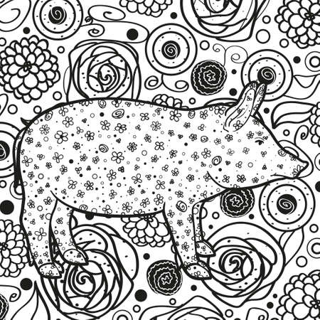 Monochrome wallpaper. Hand drawn pig. Abstract patterns. Line art. Black and white illustration