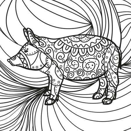 Monochrome wallpaper with patterned pig. Hand drawn patterns on isolated background. Design for spiritual relaxation for adults. Black and white illustration