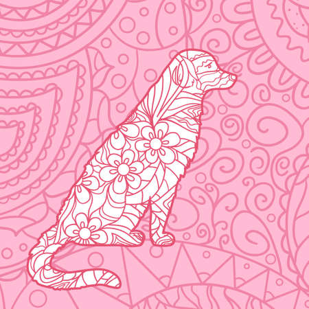 Square pattern. Hand drawn patterned dog. Design for spiritual relaxation for adults
