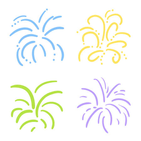 Explosions. Set of fireworks on white. Colorful illustration