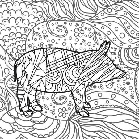 Patterned pig. Hand drawn ornaments. Abstract patterns on isolated background. Design for spiritual relaxation for adults. Black and white illustration Illustration