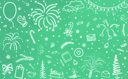Monochrome holiday background. Hand drawn xmas elements. Festive signs and objects on pattern. Happy New Year