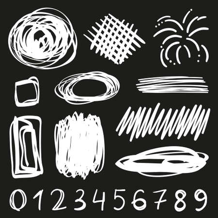 Tangled geometric shapes. Random chaotic lines. Hand drawn scrawls. Numbers. Black and white illustration Illustration