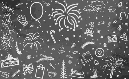 Holiday background. Hand drawn xmas elements. Signs and objects on chalkboard Illustration