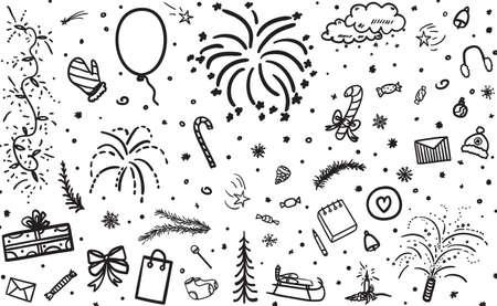 Festive background. Hand drawn christmas elements. Grunge holiday pattern. Black and white illustration Illustration