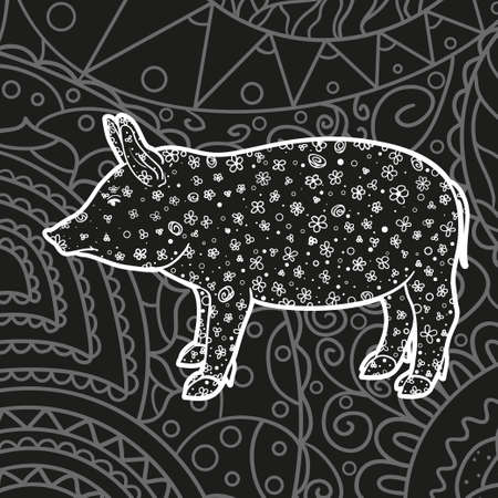 Square intricate pattern. Monochrome wallpaper with patterned pig. Hand drawn patterns. Black and white illustration