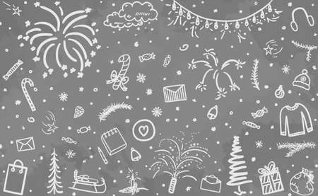 Hand drawn grunge christmas background. Abstract xmas elements. Black and white illustration