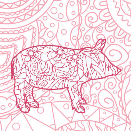 Square pattern on white. Hand drawn ornate pig. Design for spiritual relaxation for adults