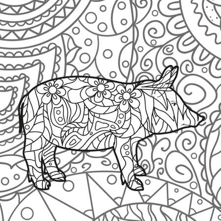 Abstract patterned pig. Hand drawn ornaments. Design for spiritual relaxation for adults. Black and white illustration