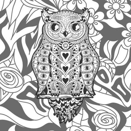 Square ornate pattern with outlined owl. Hand drawn ornate background. Black and white illustration Векторная Иллюстрация