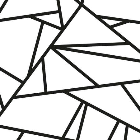 Abstract stained-glass window. Square pattern. Geometric line art. Black and white illustration
