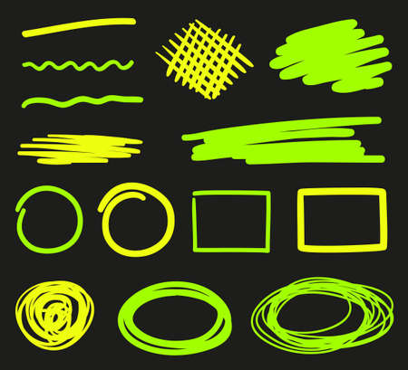 Abstract neon elements on isolated black background. Chaotic lines.s. Glowing shapes for design
