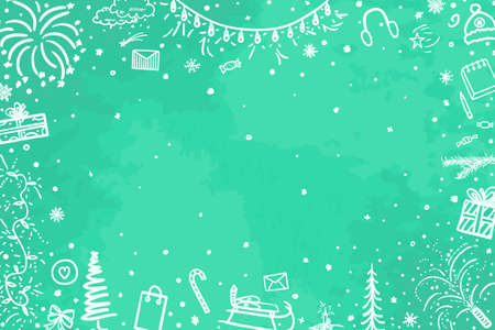 Festive frame. Christmassy background. Hand drawn xmas elements. Festive signs and objects on pattern