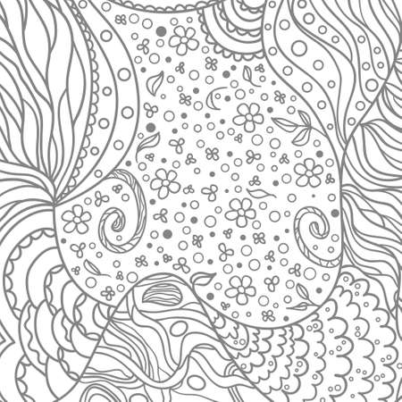 Hand drawn square background. Design for spiritual relaxation for adults. Black and white illustration
