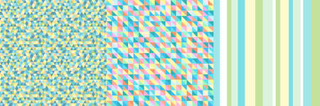 Set of colorful geometric backgrounds. Seamless colored texture. Geometric wallpaper. Line pattern. Print for polygraphy, posters, flyers and textiles