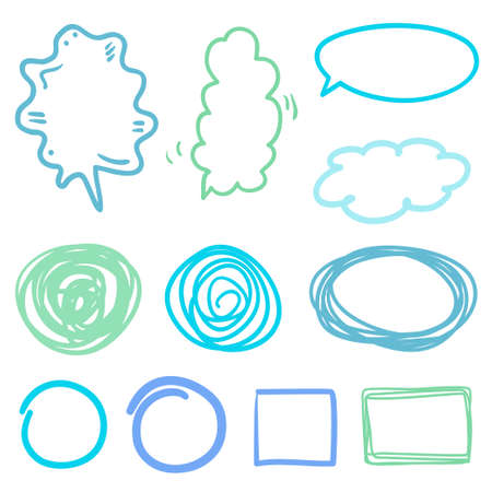 Simple sketches on white. Hand drawn speech bubbles. Infographic elements. Freehand art. Colored illustration 向量圖像