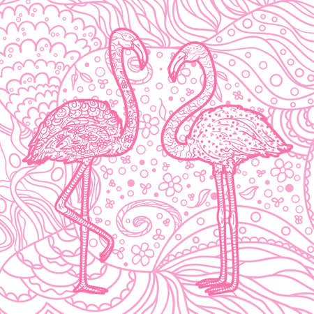 Square pattern with zen birds. Freehand art. Hand drawn patterned mandala with flamingos 矢量图像