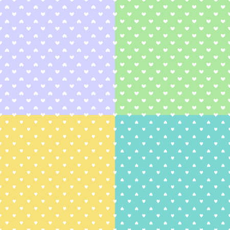 Set of background with hearts. Seamless patterns. Abstract heart textures. Valentine's day
