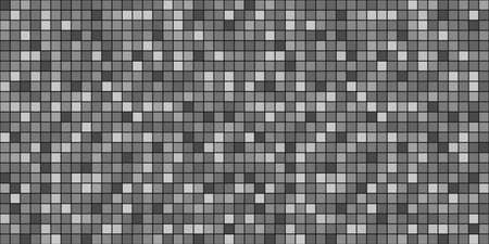 Tile background. Seamless tiled texture with many squares. Pixel wallpaper. Black and white illustration