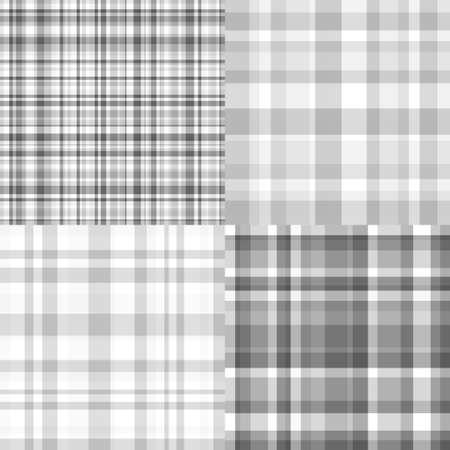 Set of seamless backgrounds. Checkered pattern. Seamless texture. Prints for textiles. Black and white illustration Ilustração