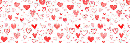 Holiday background with abstract hearts. Seamless light pattern. Valentine's day