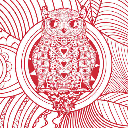 Square shape with patterned bird. Square pattern with zen owl. Design for spiritual relaxation for adults Ilustração