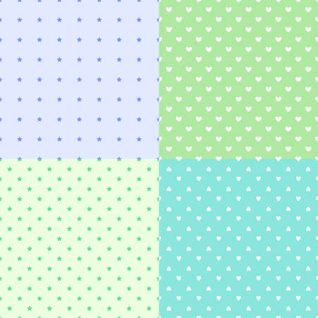 Set of backgrounds with stars and hearts. Colored simple pattern. Prints for banners, flyers, t-shirts and textiles