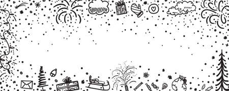 Festive background. Hand drawn christmas banner. Freehand art. Black and white illustration