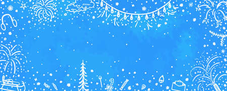 Holiday xmas banner. Hand drawn colorful background. Flakes of snow. Freehand art. Christmas snowy pattern Illustration