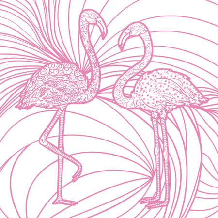 Square pattern with zen birds. Freehand art. Hand drawn line background with flamingos 矢量图像