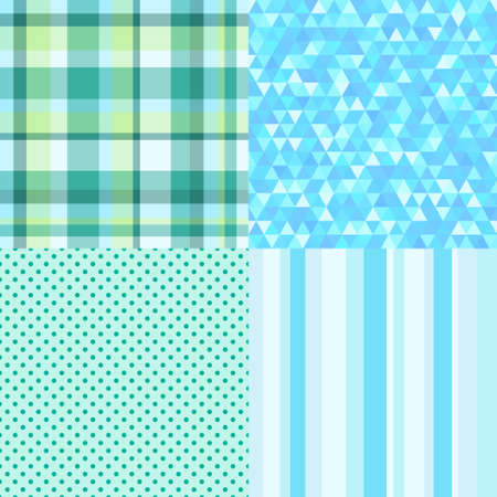 Set of seamless multicolored patterns. Abstract geometric textures. Prints for polygraphy, banners, shirts and textiles