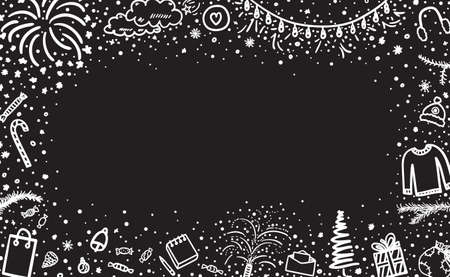 Holiday background. Festive xmas pattern. Hand drawn christmas signs and objects. Freehand art. Black and white illustration 矢量图像