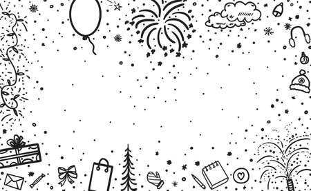 Festive xmas background. Hand drawn christmas banner. Freehand art. Black and white illustration