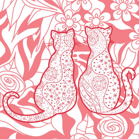 Zen cats. Hand drawn square wallpaper with abstract cats. Outlined animals. Design for spiritual relaxation for adults. Ilustração